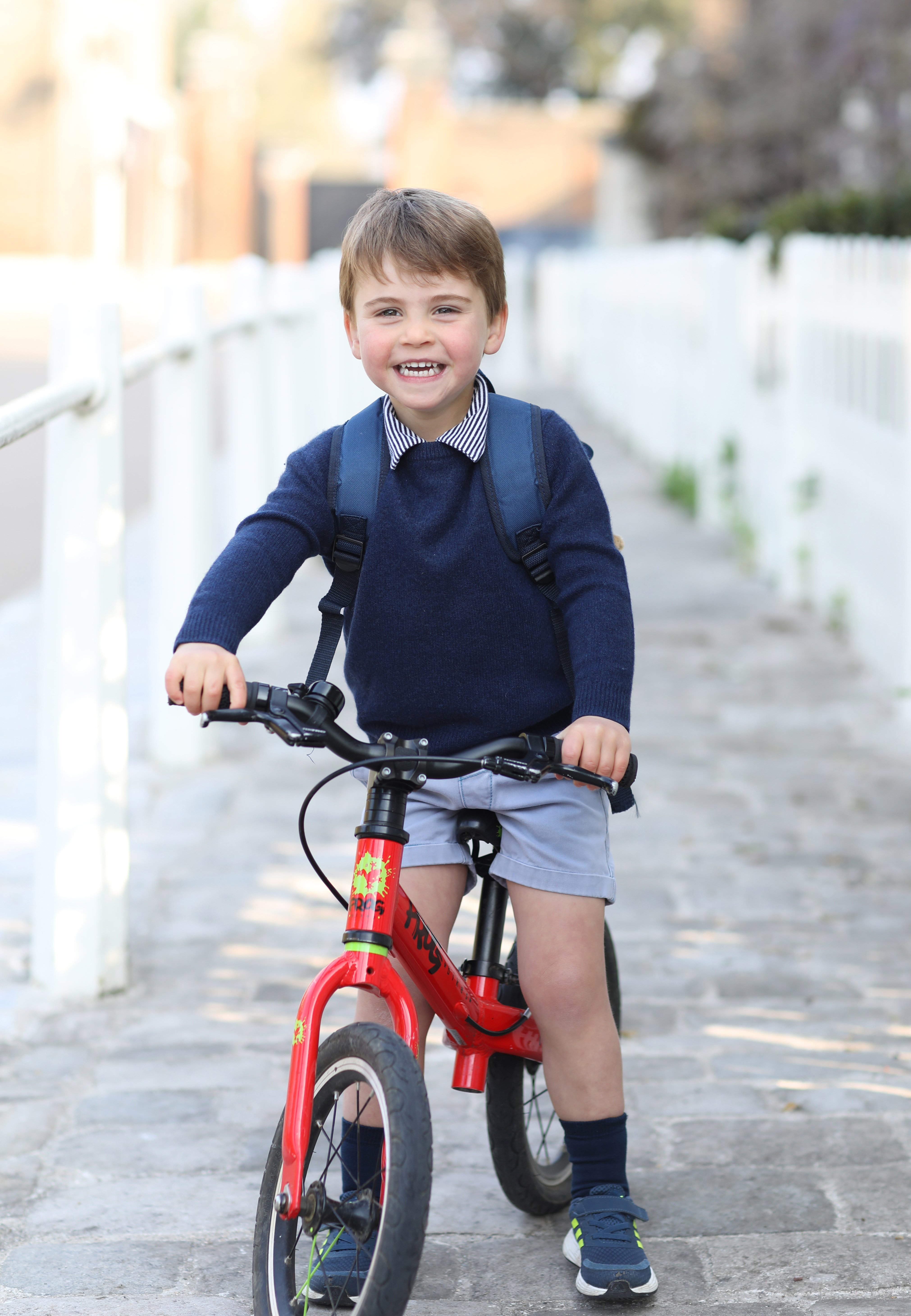Prince Louis on his Frog bike, taken on Wednesday by his mother, the Duchess of Cambridge, at Kensington Palace