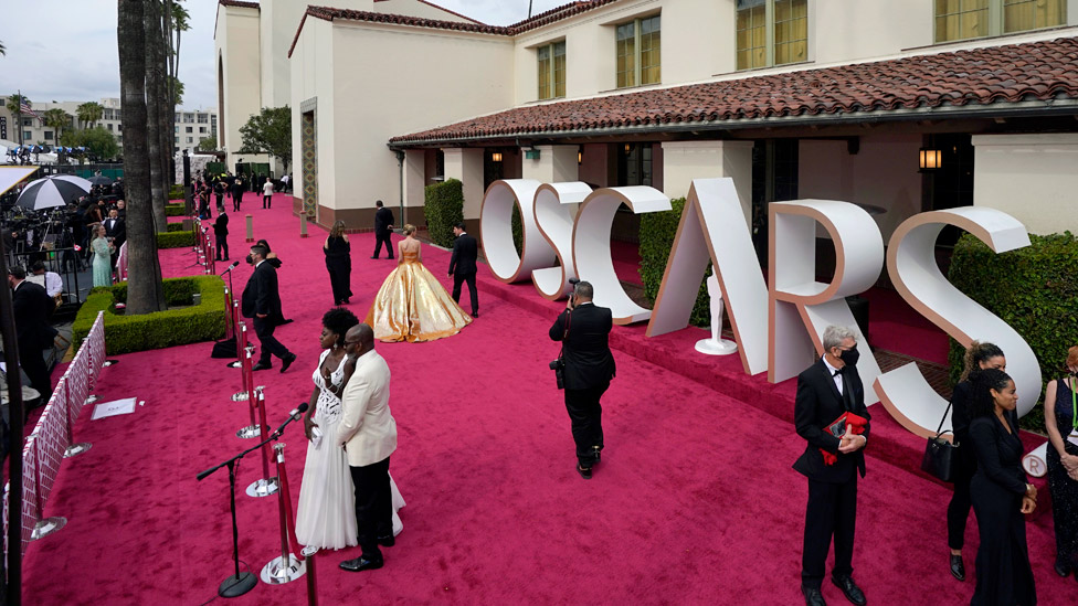 The red carpet was set up outside LA's Union Station