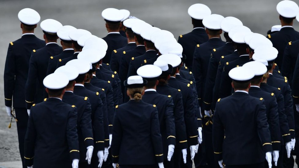 French soldiers march during the annual Bastille Day military parade in Paris, 2019
