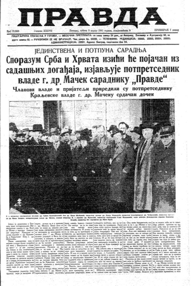 Šta je pisala jugoslovenska štampa dan pre bombardovanja 6. aprila 1941. godine? 2