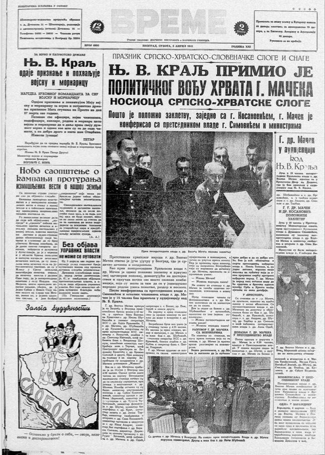 Šta je pisala jugoslovenska štampa dan pre bombardovanja 6. aprila 1941. godine? 3