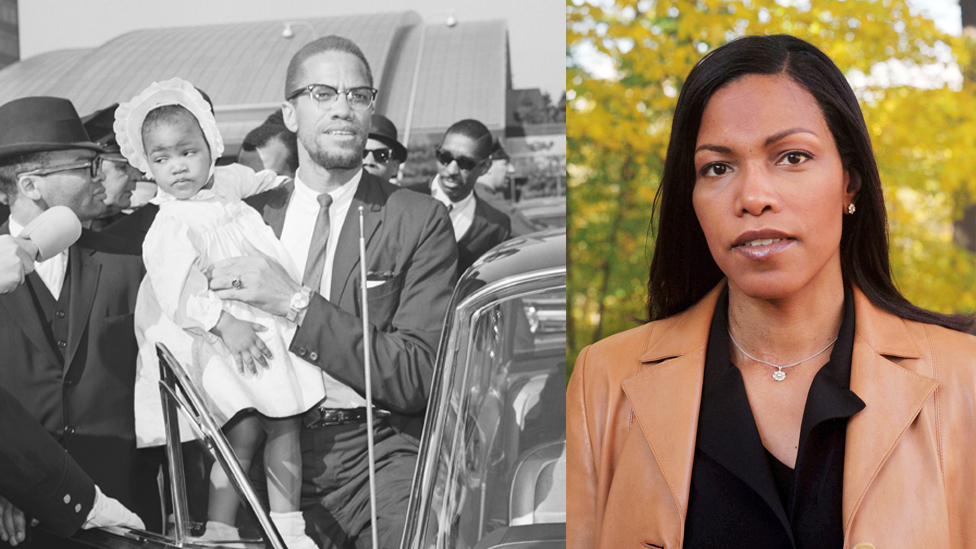 Archive picture of Malcom X holding his baby daughter next to a portrait of Ilyasah Shabazz grown up