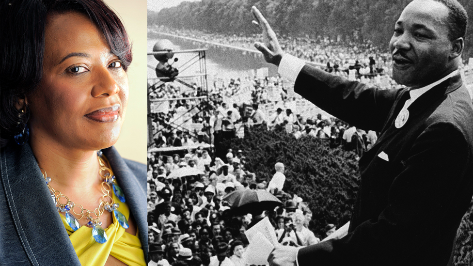 Picture of Bernice King next to an archive picture of Martin Luther King addressing the crowds at the march on Washington in August 1963