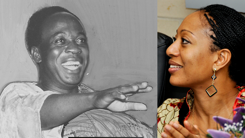 Archive picture of the first president of Ghana on a visit to the United States, with a picture of Ghanaian politician Samia Nkrumah during a visit to Malcolm X College, Chicago, Illinois, September 4, 2009.