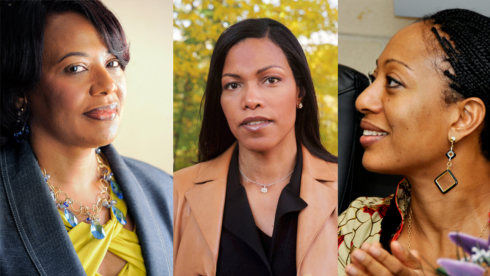 Composite picture of Bernice King, Ilyasah Shabazz and Samia Nkrumah