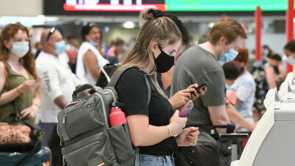 Brisbane Airport in April as people flew out of the city prior to its lockdown