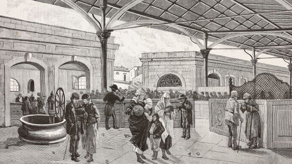 Engraving of market day during a cholera epidemic in Italy.