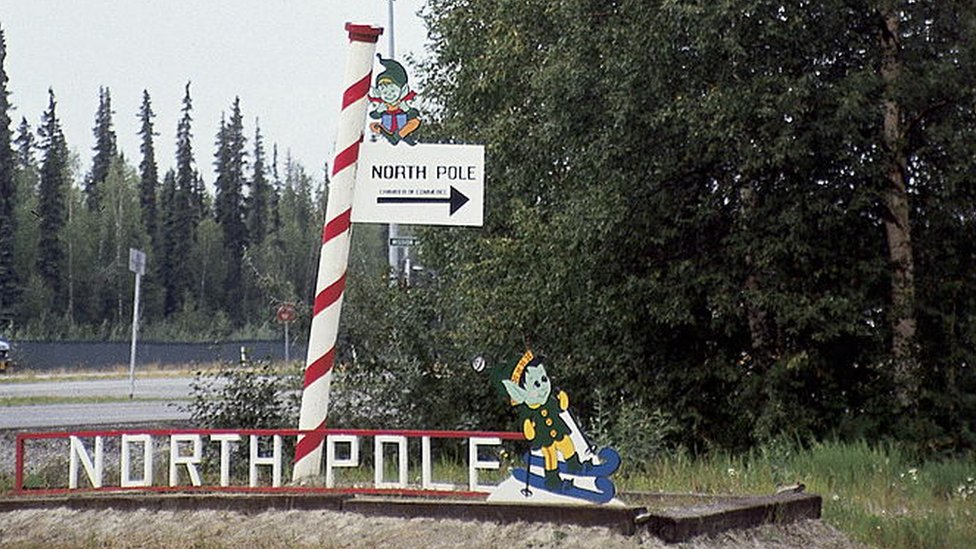 A road sign for the North Pole Chamber of Commerce, Alaska.