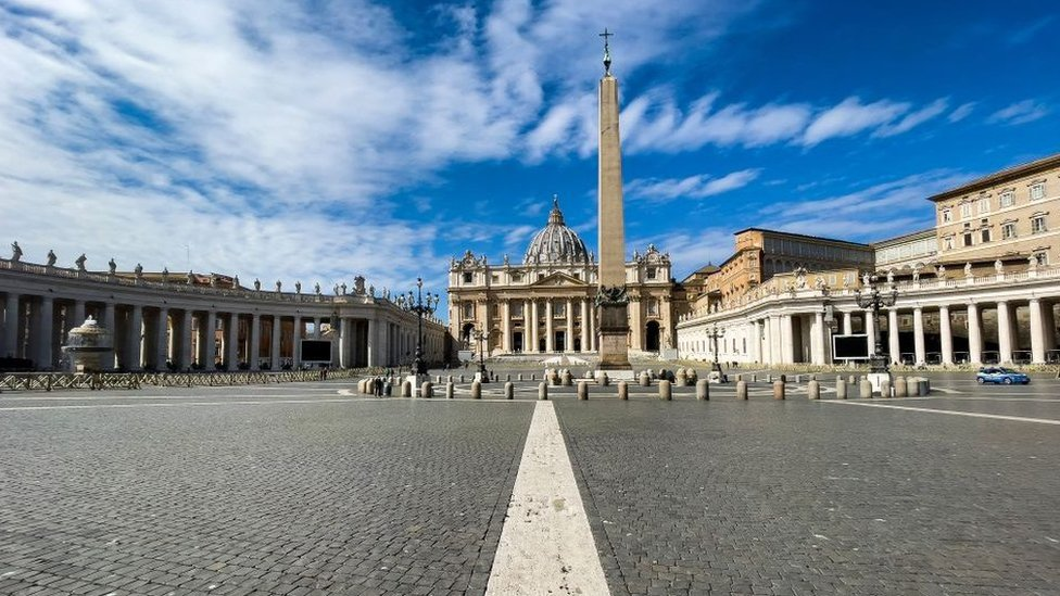 St. Peter's Square, the large plaza in front of St. Peter's Basilica in the Vatican City, completely empty due to the coronavirus lockdown.