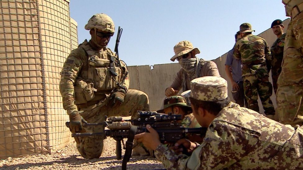 US troops training the Afghan Army 215th Corp in Helmand, July 2016