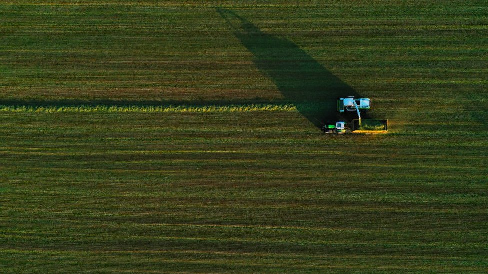 Aerial view of a tractor in Belgium