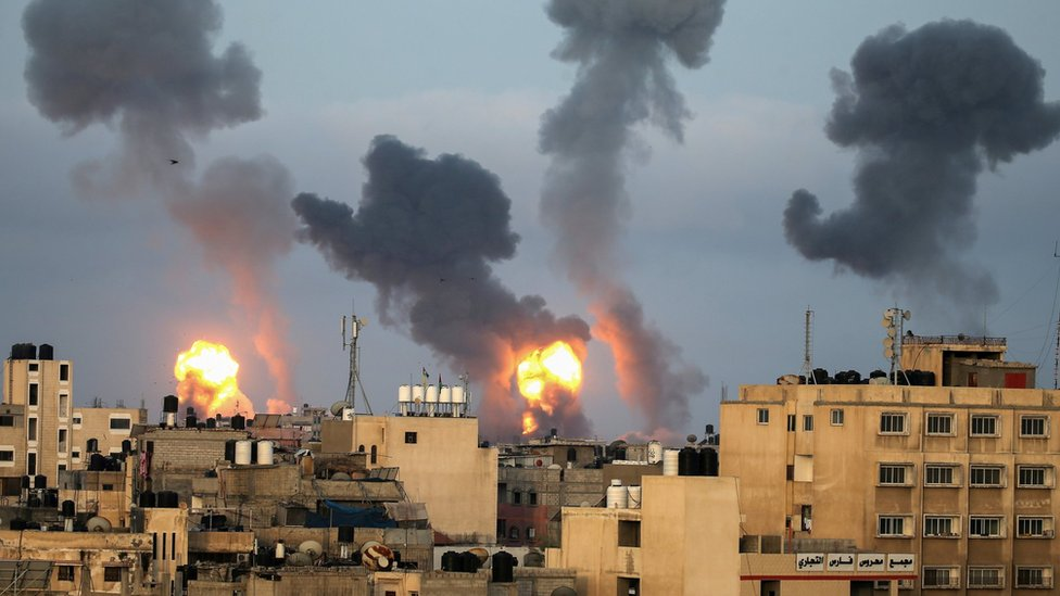 Flames and smoke rise from the Gaza Strip on 11 May 2021