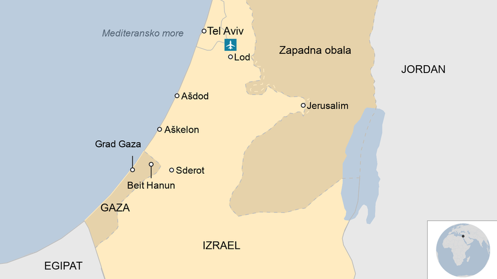 mapa Izrael, pojas Gaze