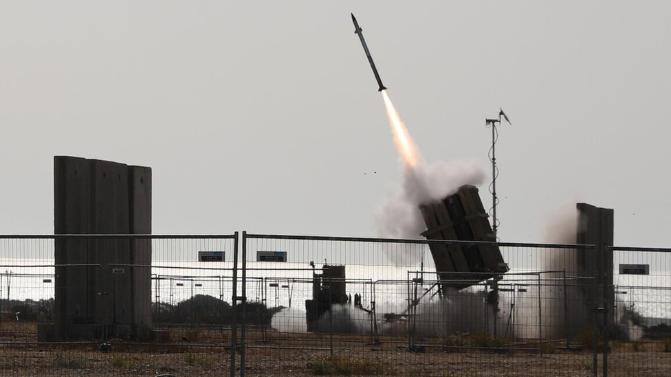 The Israeli Iron Dome anti-missile defence system in action in Ashkelon, Israel (11 May 2021)