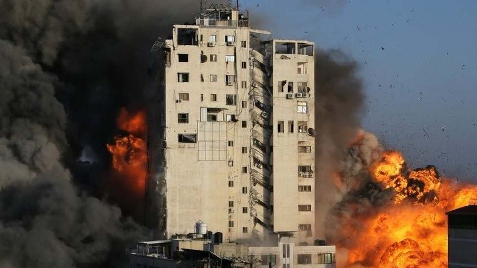 Building destroyed by Israeli air strikes on Gaza City