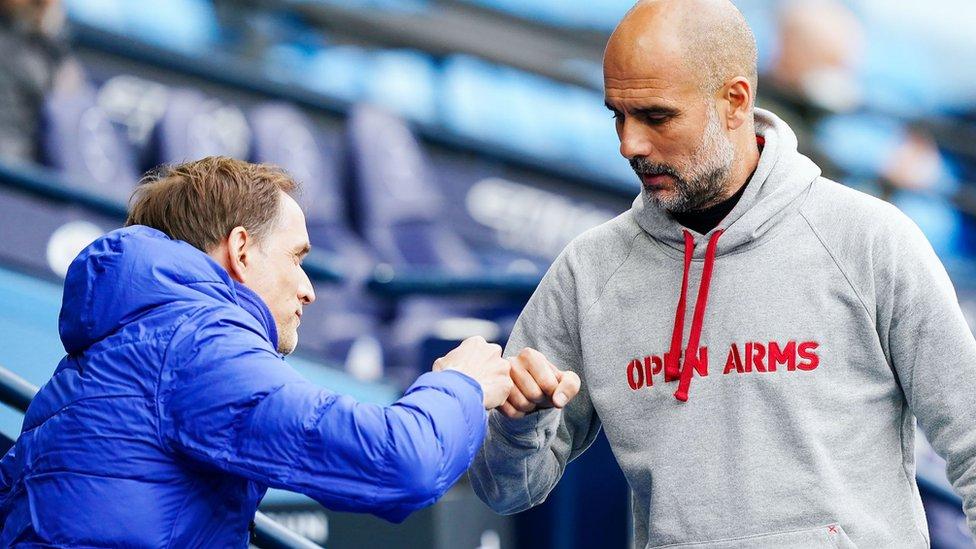 Thomas Tuchel and Pep Guardiola bump fists