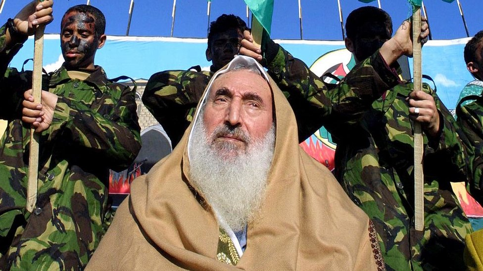 Sheikh Ahmed Yassin, the spiritual leader of Hamas, attends a rally to mark the 15th anniversary of the group's foundation in Gaza City (27 December 2002)