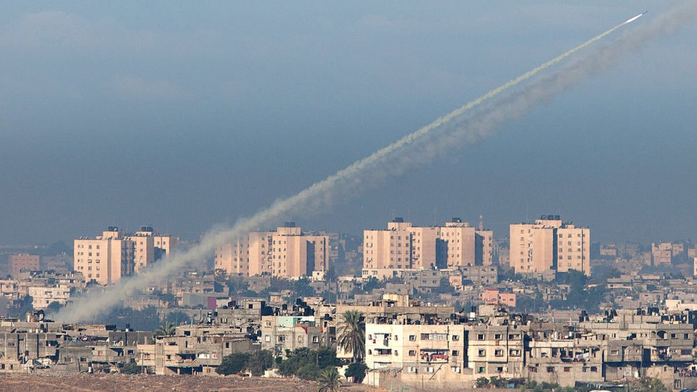 A rocket is launched from Gaza towards Israel, as seen from Sderot, on 15 November 2012