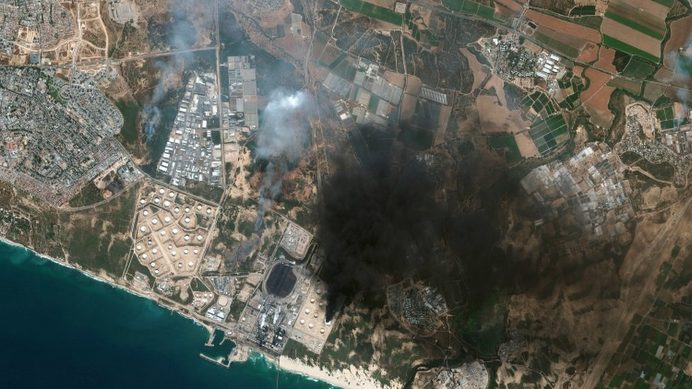 A satellite image shows an overview of Ashkelon, which has been attacked by rockets fired from Gaza