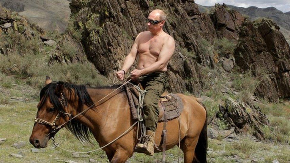 Vladimir Putin on horse, on holiday near Kyzyl in southern Siberia, 3 Aug 09