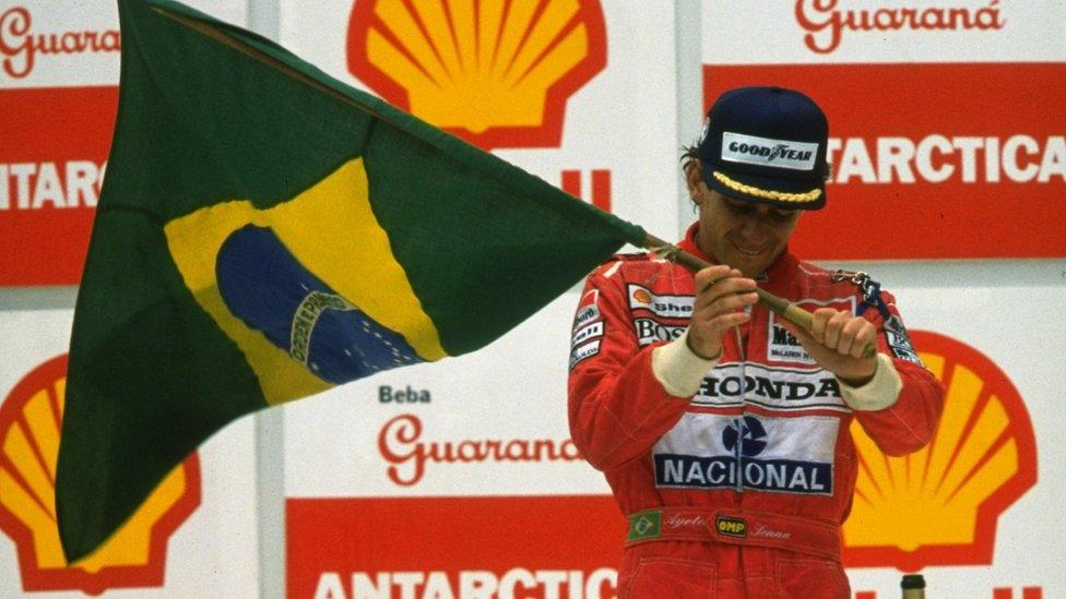 Ayrton Senna with Brazilian flag