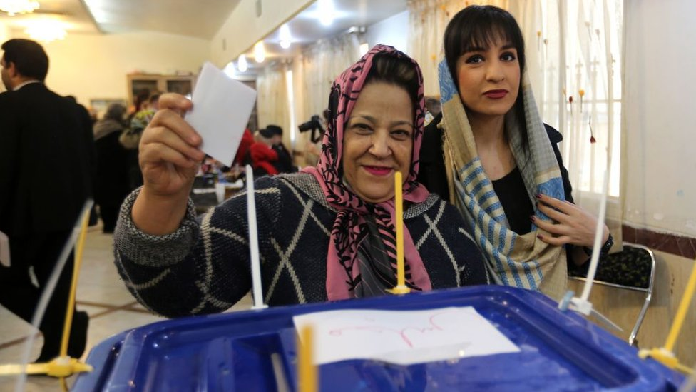 Women cast their votes at a polling station in Tehran, Iran, during parliamentary elections (20 February 2020)
