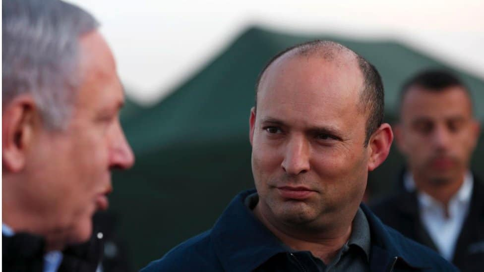 Netanyahu and Bennett visit an army base in the Israeli-annexed Golan Heights