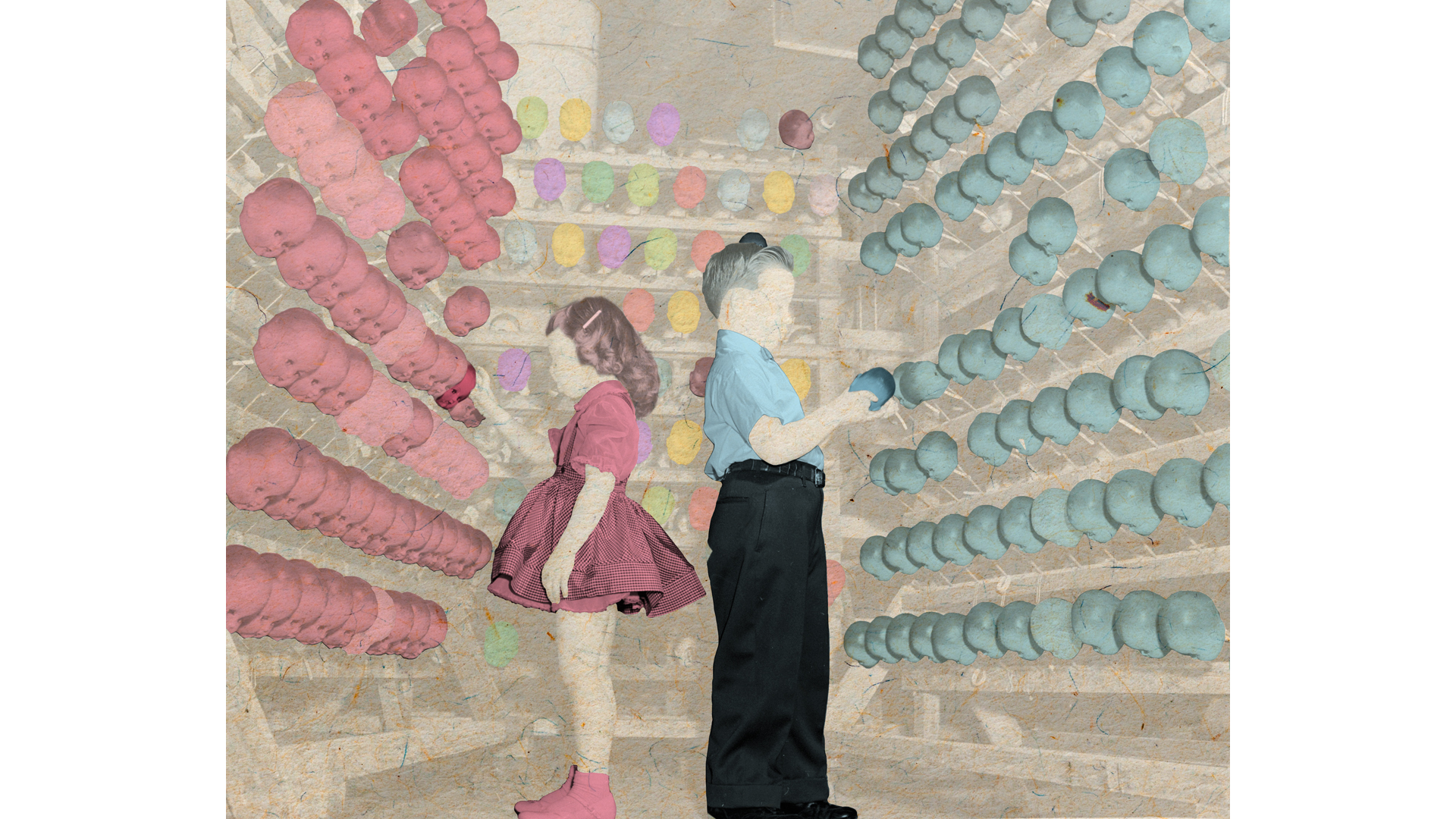 A girl and a boy looking at dolls in a shop