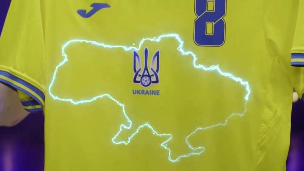 Ukraine's shirt, showing a map of Ukraine including Crimea