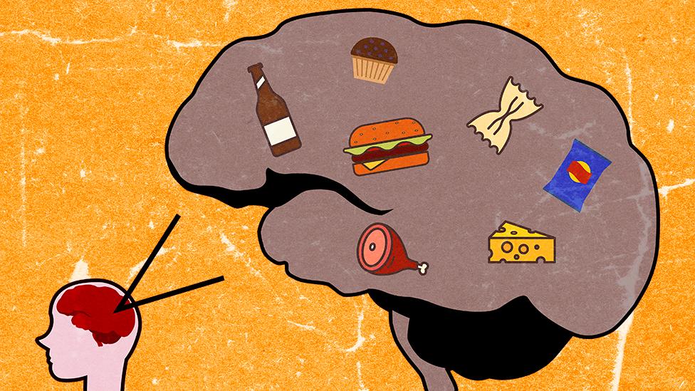 Ilustracija mozga sa ultra-prerađenim proizvodima