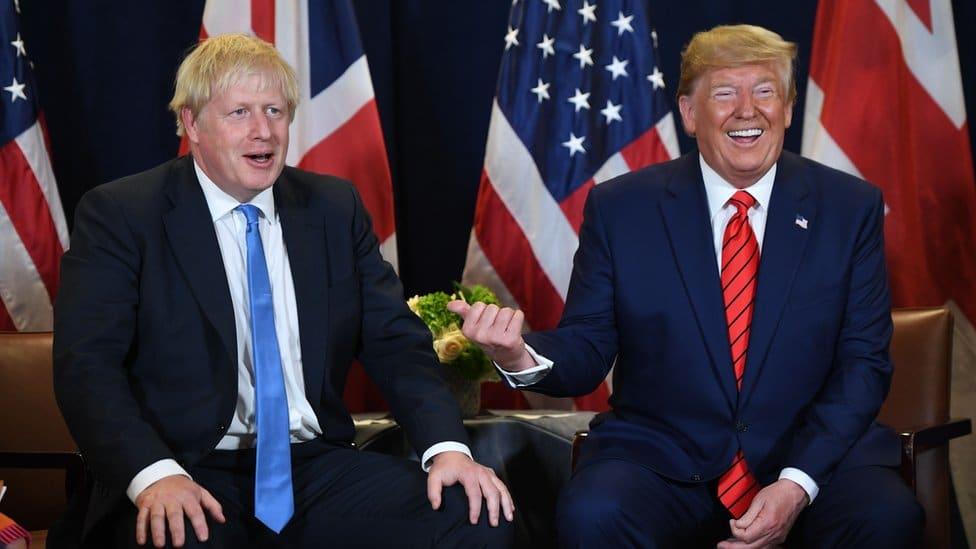 Prime Minister Boris Johnson and former US president Donald Trump
