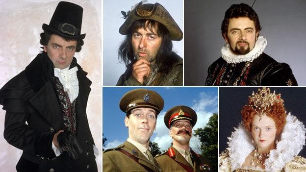 Composite of images of Rowan Atkinson as Blackadder, Tony Robinson as Baldrick, Stephen Fry, Hugh Laurie and Miranda Richardson