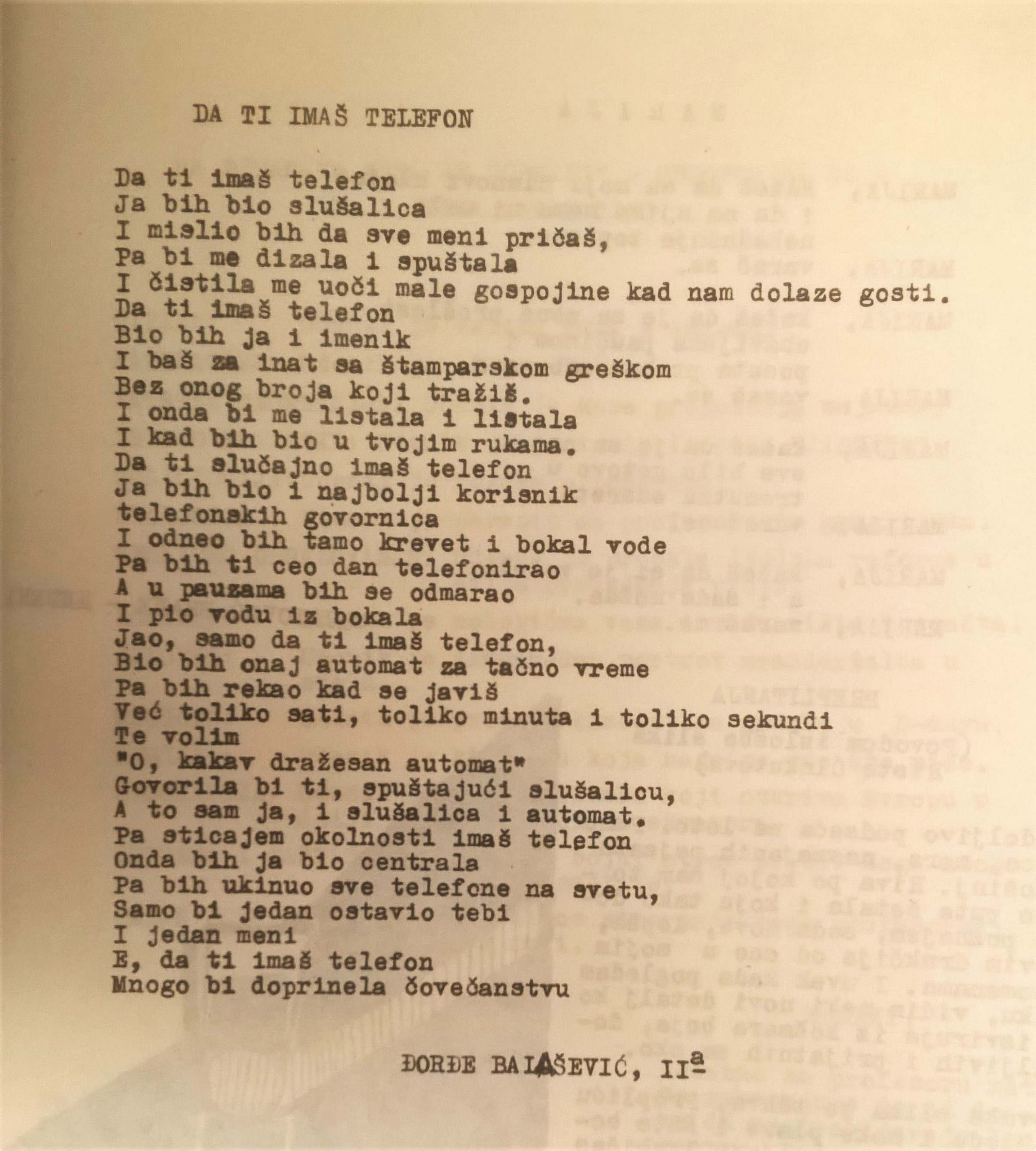 Dosad neobjavljene pesme Đorđa Balaševića iz gimnazijskih dana 4