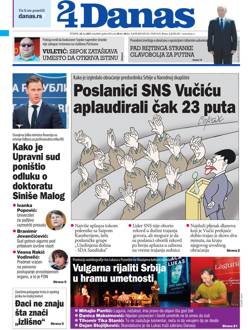 Naslovna za 24. jun 2021. 1