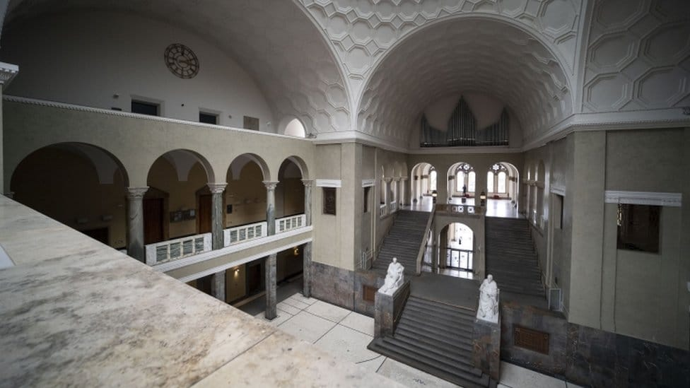 A view inside the atrium of the Ludwig-Maximilians-University where Sophie Scholl distributed leaflets in Munich, Bavaria, Germany, 04 May 2021