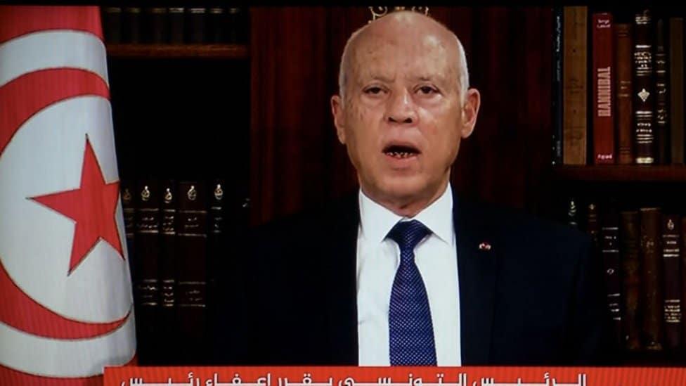 Tunisian president Kais Said speaking on TV