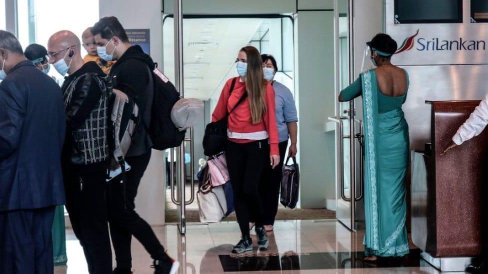 Ukrainian passengers arrive at Sri Lanka's Mattala Rajapaksa International Airport, in Mattala