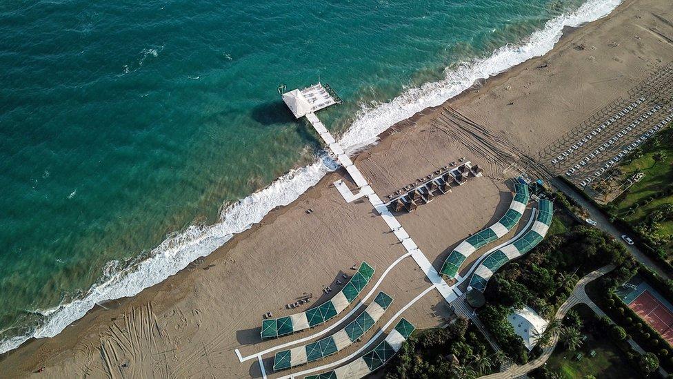 A bird's eye view of a beach on the Turkish coast