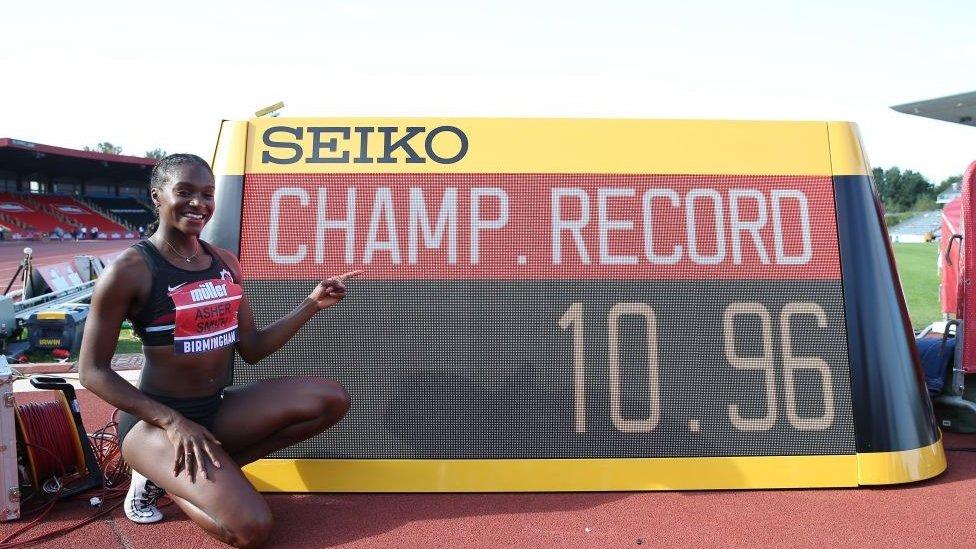 British sprinter Dina Asher-Smith celebrates her sub-11 run in the European Athletics Championship in 2019