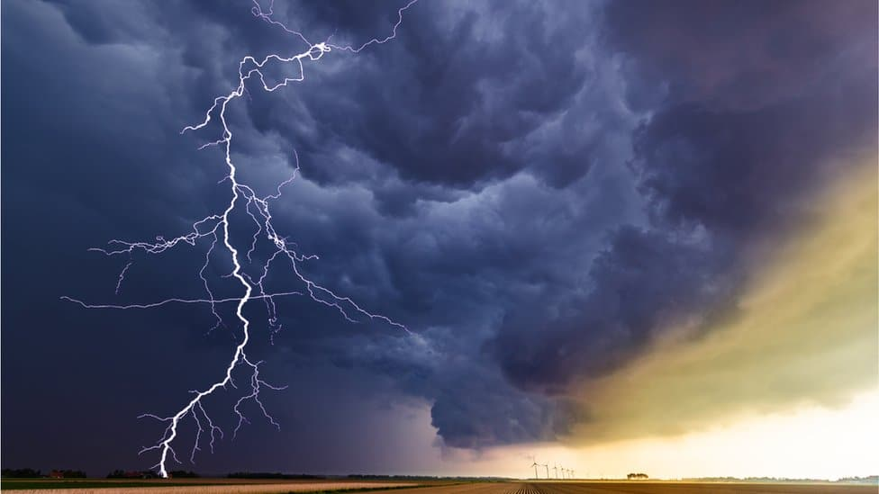 Lightning striking from a cloud