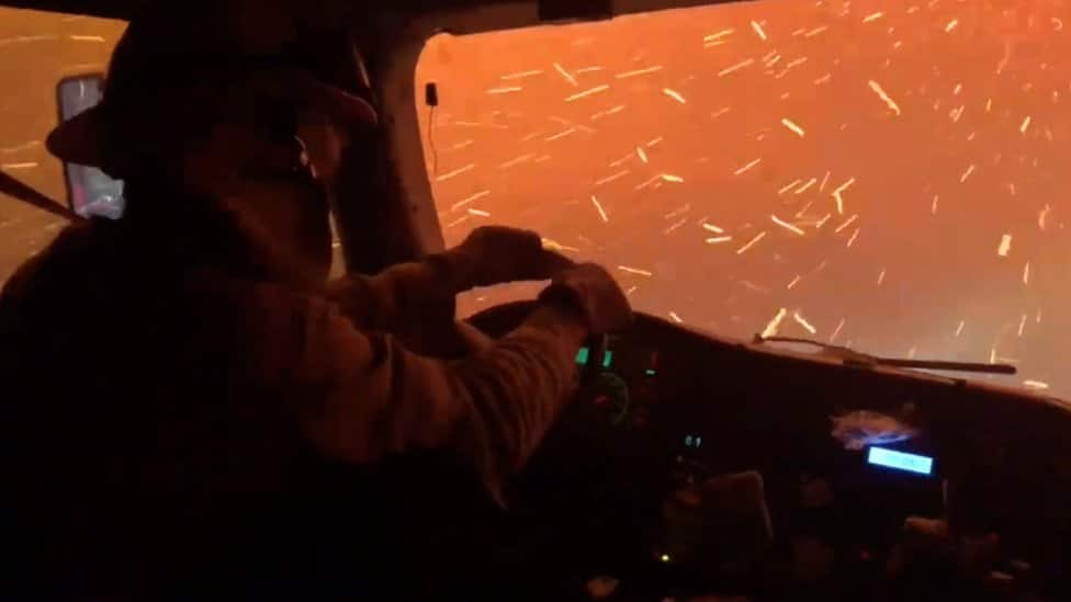 Driving through a wildfire