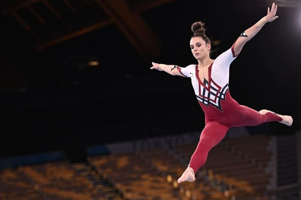 Germany's Pauline Schaefer-Betz competes in a full-body suit in the Tokyo 2020 Olympic Games