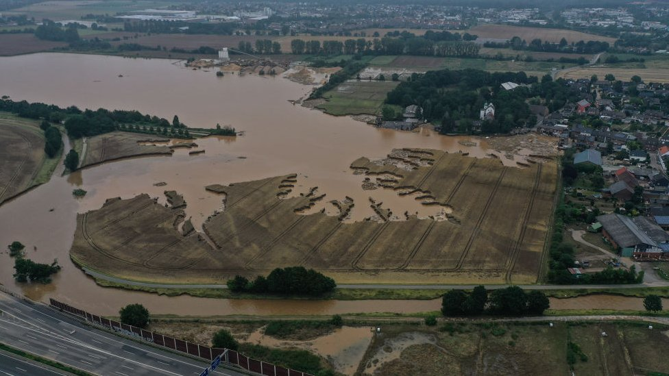 A drone photo shows an aerial view of a devastated area after a severe rainstorm and flash floods hit western states of Rhineland-Palatinate and North Rhine-Westphalia, on July 17, 2021