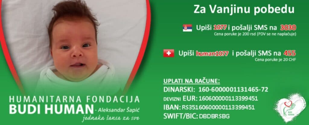 """Vakciniši se i pomozi maloj Vanji – FSS, Grad i Mozzart u humanitarnoj akciji uoči meča """"Orlova"""" 2"""