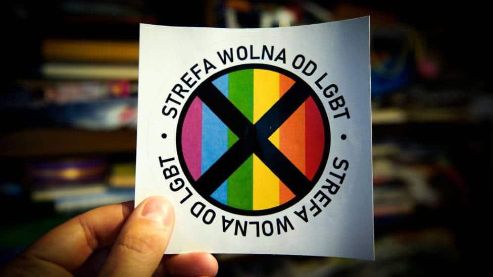 Anti-LGBT sticker produced by Gazeta Polska