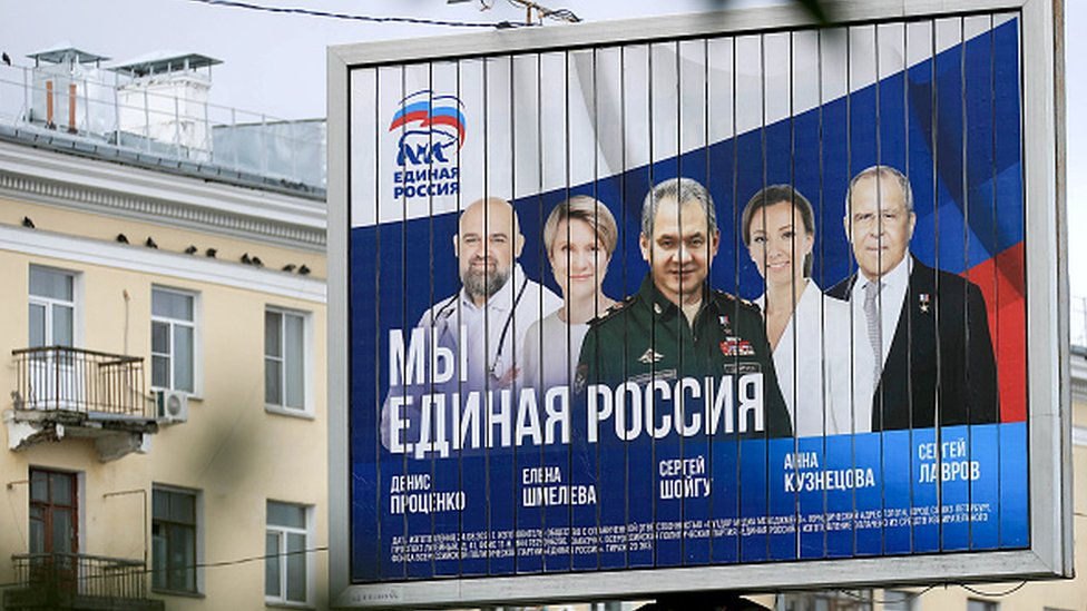 A billboard showing candidates in the Russian election