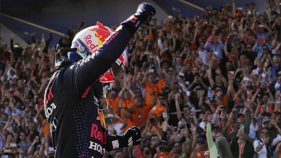 Red Bull driver Max Ferstappen celebrates his victory at the Dutch Grand Prix