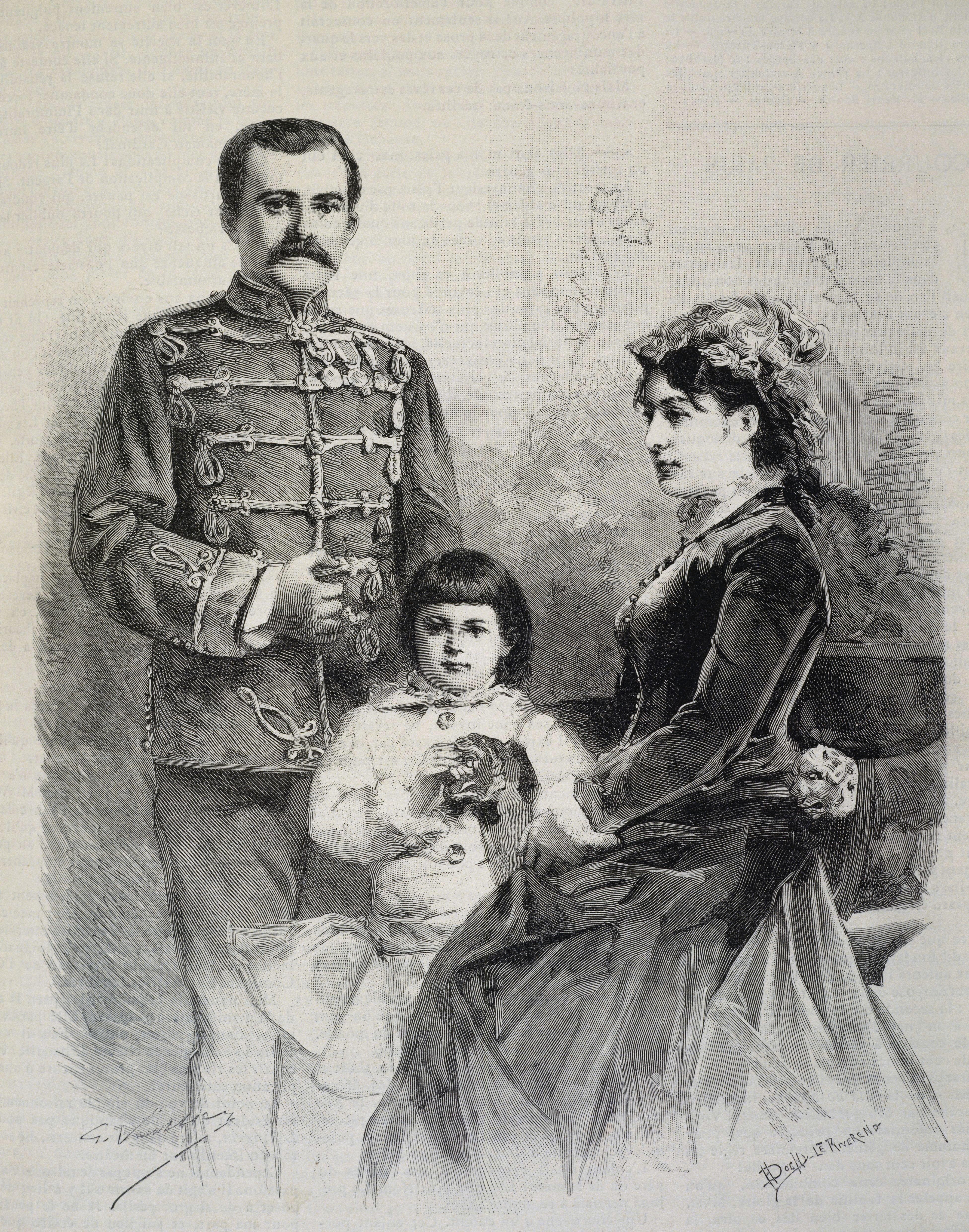 Milan Obrenović sa suprugom Natalijom i sinom Aleksandrom
