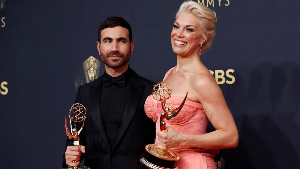 Brett Goldstein and Hannah Waddingham with their Emmy awards