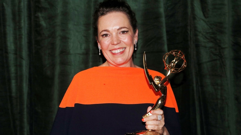 Olivia Colman with her Emmy for best drama actress